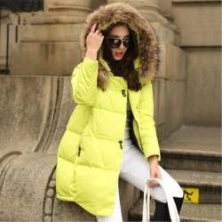 Топло зимно дамско яке с качулка с пухче, ватирано пуф яке палто с избор от 5 различни цвята и размери от S до 5XL
