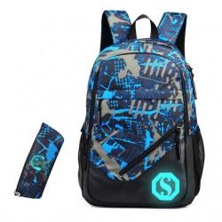 Ученическа раница чанта от водоустойчив матеиал + подарък несесер с цветен прин и фосфорицираща буква S която свети в тъмното