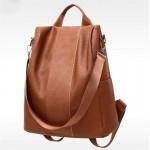 Стилна дамска чанта и раница 2 в 1, в кафяв или черен цвят от изкуствена кожа със здрави презрами и много отделения.