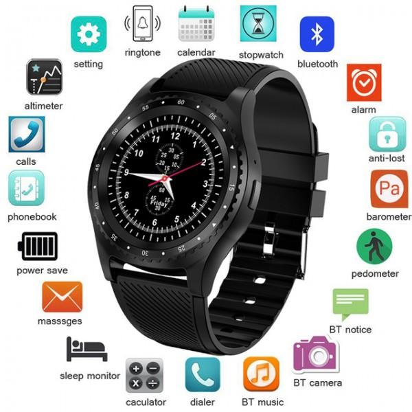 Смарт часовник и GSM в едно, входящи и изходящи повиквания с NANO SIM карта, вградена камера, SMS съобщения, крачкомер, блу тут връзка за музика към безжични слушалки и много други екстри
