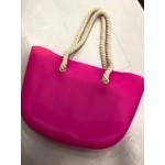 Голяма дамска плажна или пазарска чанта за рамо от силиконов гел, презрамки като корабни въжета и избор от 10 искрящи цвята