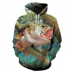Блуза с качулка с 3D принт на тропическа риба, за рибари и феновете на риболова, суичър анорак с цветен принт на риба, сом, щука с избор от 9 вида