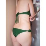 Секси семпъл бански комплект бикини и топ без презрамки за по-добър тен, еластичен и удобен за морето, плажа и др, с къдрици тип жабо и избор от 7 цвята