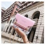 Малка дамска прозрачна чанта клъч бег чантичка с презрамка верига, с вътрешно непрозрачно отделение и избор от 3 цвята