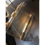 Прозрачна квадратна мини чантичка във формата на куфарче, симпатична чанта клъч бег с презрамка верига в златен цвят
