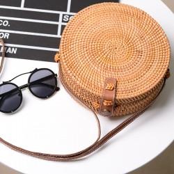 Ратанова дамска чанта с уникална плетка, чанта в кръгла форма, с кожена презрамка и закопчалка