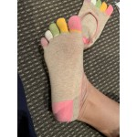 Дамски невидими памучни чорапи с 5 пет пръста, много удобни под глезена, 100% памук