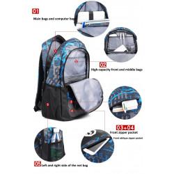 Ученическа раница чанта от водоустойчив матеиал с геометричен принт и вход за USB зарядно за телефон + подарък несесер и светеща в тъмното буква S