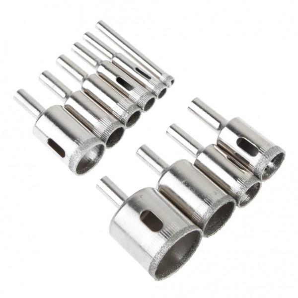Kомплект от 10 броя дрелки с диамантeно покритие от 6мм до 30мм за рязане и пробиване на стъкло, мрамор, плочки и гранит
