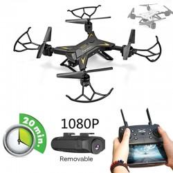 Професионален дрон хеликоптер / куадкоптер с камера 5MP 1080P HD FPV WIFI, предава видеоклипове с висока резолюция в реално време, 20 минути полет