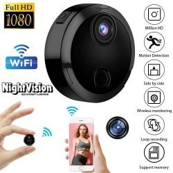 Безжична мини видео камера с висока резолюция FULL HD 1080P IP WIFI, запис и наблюдение в реално време, Нощно Виждане, детектор за движение, WIFI дистанционно управление, IP адрес, слот за памет - съвместима с Андроид и IOS устройства