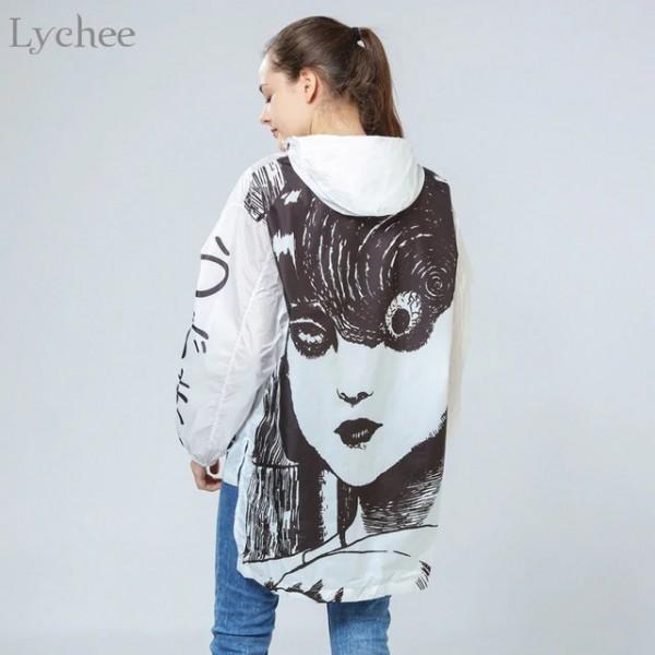 Пролетно-лятно дълго дамско яке с качулка, с голяма щампа на гърба, водо и ветро устойчиво