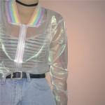 Дамско прозрачно яке с цип отпред и с ластични ленти в цветовете на дъгата на кръста