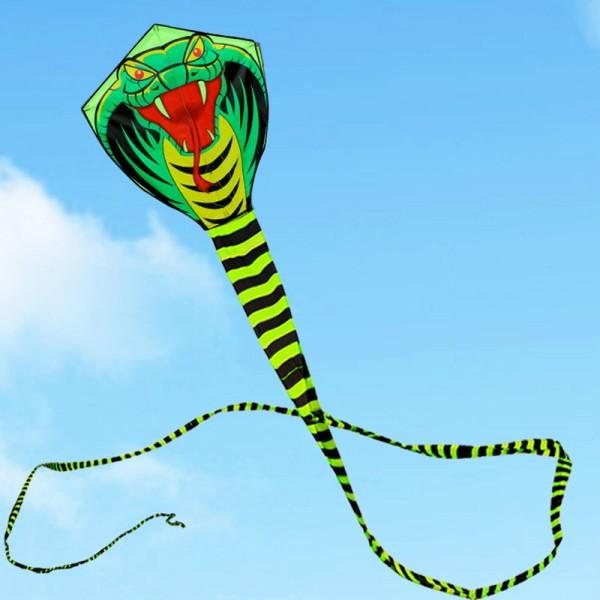 Голямо 15м висококачествено хвърчило змия/кобра за деца и възрастни с рамка, дръжка и 100м корда