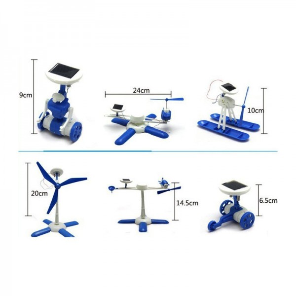 Робот модел за сглобяване 6 играчки в 1 със соларен панел за зареждане, подходящ за подарък