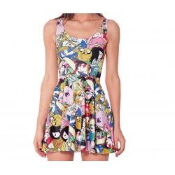 Дамска рокля с цветен принт Adventure Time , 100% полиестер, лека и удобна за лятото
