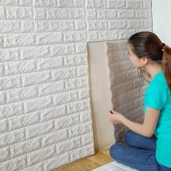 Самозалепващ се 3D стикер тапет с формата на тухлички, подходящ за декорация на стени, кухни, плотове и др, лесен монтаж