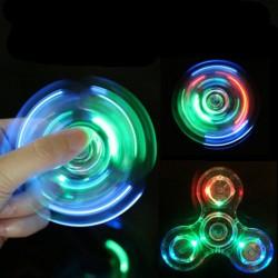 Прозрачен фиджет спинер светещ в тъмното при въртене с LED / ЛЕД светлина, в различни цветови композици