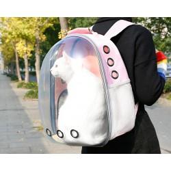 Раница чанта за пренасяне и разходка на котка или куче с прозрачна капсула за наблюдение и отвори за въздух
