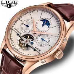 Автоматично механичен елегантен мъжки часовник с кожена каишка