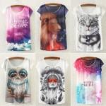 Дамска тениска с избор от 12 различни забавни щампи (котка, сова, лъв, индианец и др.)