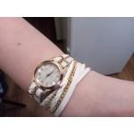 Кварцов дамски часовник със стилна кожена каишка гривна в 7 различни цвята