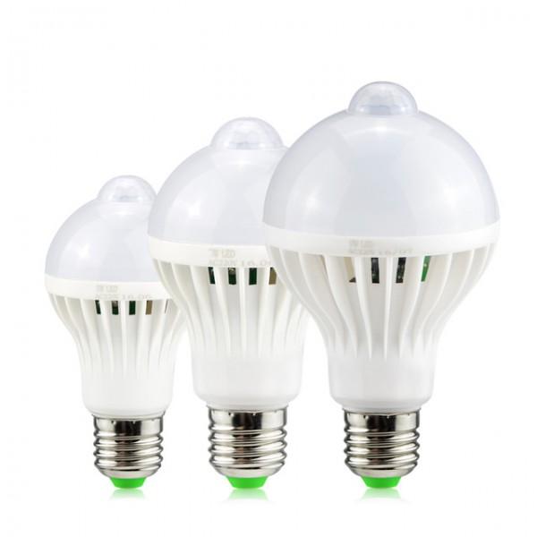ЛЕД крушка Енергоспестяваща лампа със сензор за движение, 50 000 часа живот, фасунга: Е27, 5 W, 7W, 9W