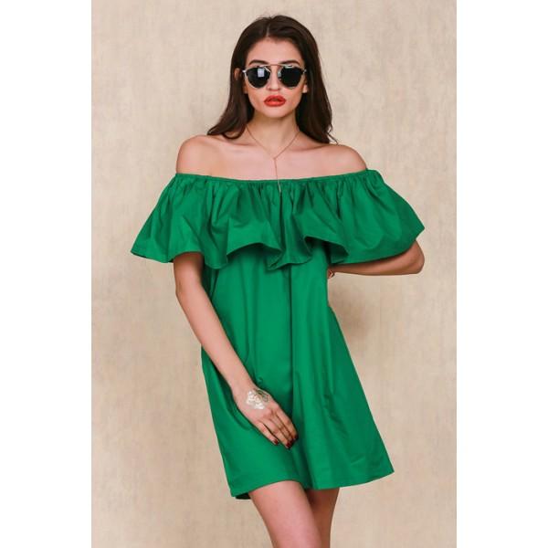 Семпла и секси лятна дамска рокля под рамото в 5 различни цвята 100% памук