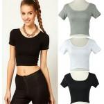 Памучен кроп-топ тениска за жени с широко кръгло деколте