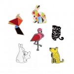 Креативни геометрични брошки значки изберете 1 значка от 7 вида в разнообразни форми на заек, фламинго, куче, птица
