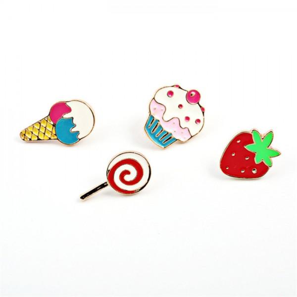 Комплект от 4 бр. метални брошки значки с форма на кейк, близалка, ягодка и сладолед