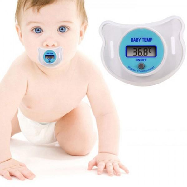 Дигитален термометър биберон с цифров екран, за бебета и малки деца