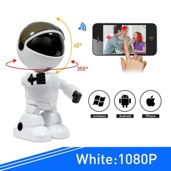 Безжична WI-FI IP камера 2MP пиксела с нощно виждане,  запис на карта и двупосочен звук и аларма с формата на робот