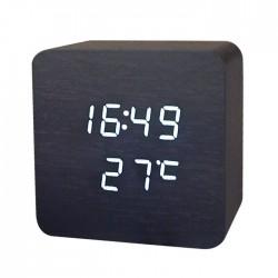 Елегантен настолен часовник и термометър, имитация на дървено кубче в различни цветове