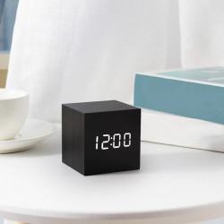 Елегантен мини настолен часовник и термометър, имитация на дървено кубче в различни цветове