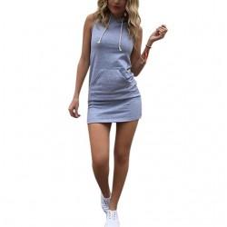 Модерна мини рокля с качулка подходяща за ежедневие и партита