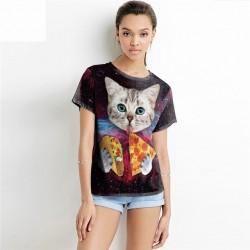 Дамска тениска от полиестер с цветен принт на галактика и котка с пица