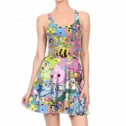 Секси лятна рокля без ръкави с цветен принт POKEMON, подходяща и за плаж или клуб