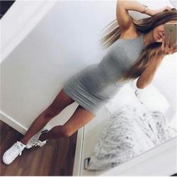 Дамска секси мини рокля без ръкави, подходяща за вечерни партита